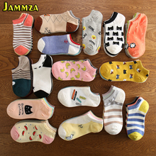 New Summer Cotton Ankle Socks Women Cartoon Fruit Animal Stripe Star Cute Fashion Candy Colorful Kawaii Pink Japan Style
