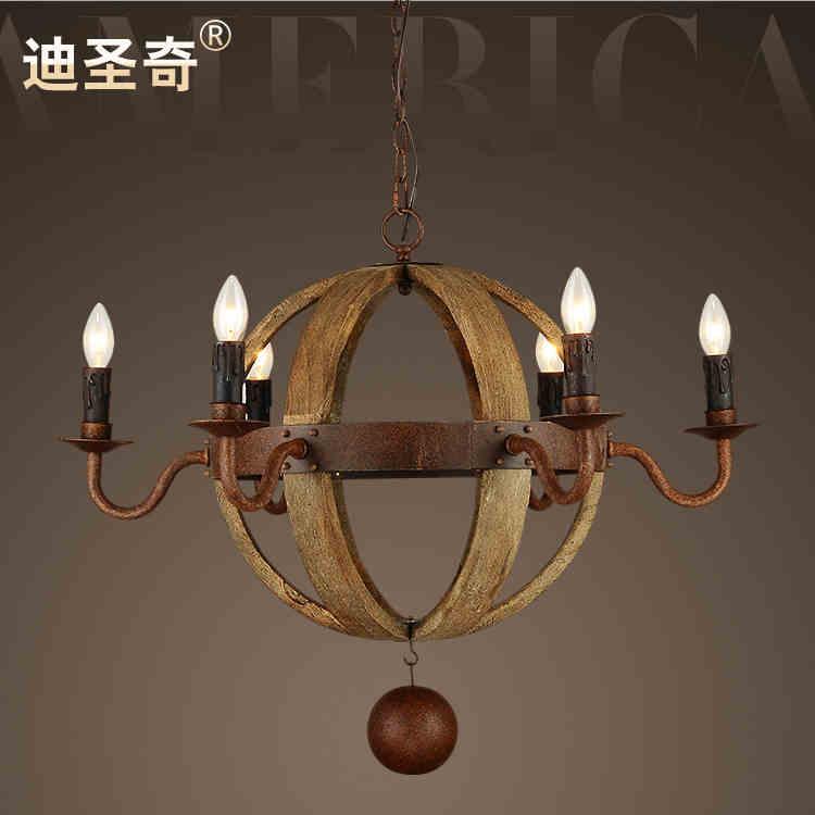American vintage mixte en bois et fer pendentif lumière orge whisky beerbarrel lamp-6pcs lampes