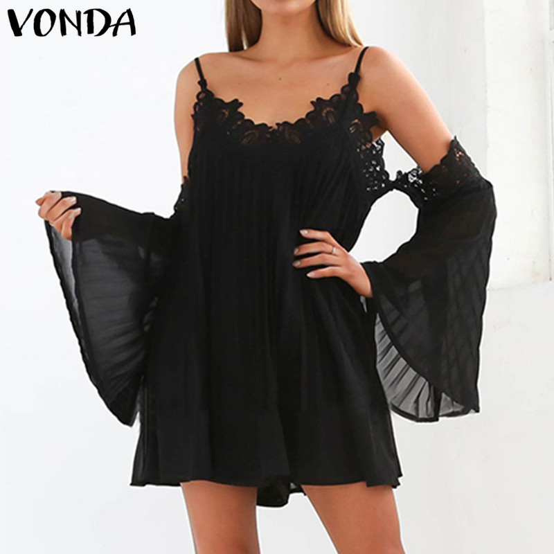 VONDA Women Pregnant Casual Loose Beach Mini Dress 2018 Sexy V Neck Off Shoulder Long Sleeve Lace A-line Vestidos Plus Size