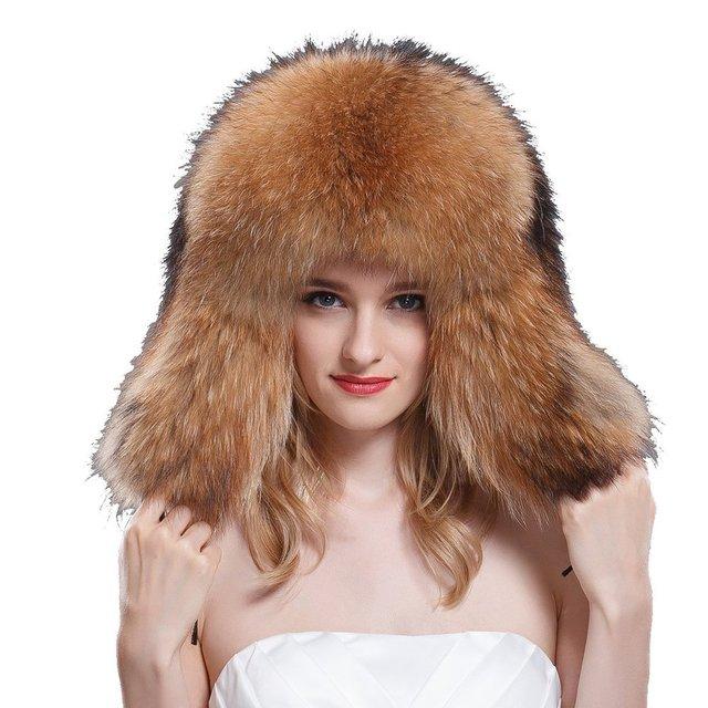 d78f152cb36 Women s Raccoon Full Fur Russian Ushanka Trapper Hats Natural Color Coonskin  caps