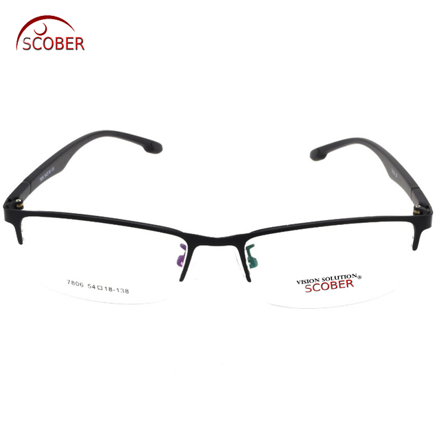 17f99115b51 SCOBER   Titanium Alloy Eyeglasses Frame Half-Rim Optical Custom Made  Prescription Myopia Glasses Progressive Photochromic