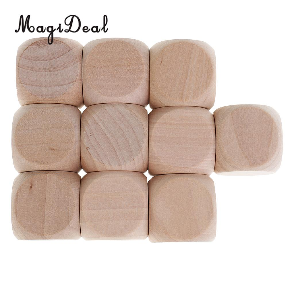 MagiDeal Funny 10Pcs Wood Dice Blank Faces for DIY Decorating Craft Projects Kid Toys Game D6 3cm Entertainment Game Dice Gifts