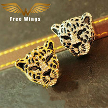 Fashion Leopard Head Charm Rings punk brand jewellery crystal jewelry rings for women Bague Femme bijoux R185 B5(China)