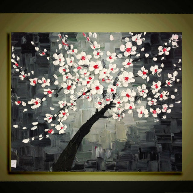 Hand painted modern home decor wall art picture red white cherry ...