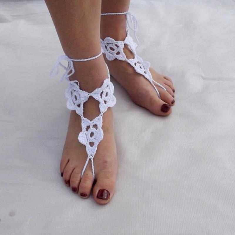 988e5ff538df white cotton crochet flower barefoot sandals