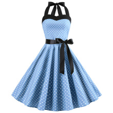 купить 2019 Retro Polka Dot Hepburn Vintage Sexy Halter Party Dress 50s 60s Pin Up Rockabilly Dresses Robe Plus Size Elegant Midi Dress дешево