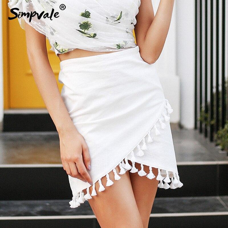 SIMPVALE Tassel white women skirt High waist pencil black mini skirt Streetwear chic short beach summer skirt female|Skirts| |  - title=