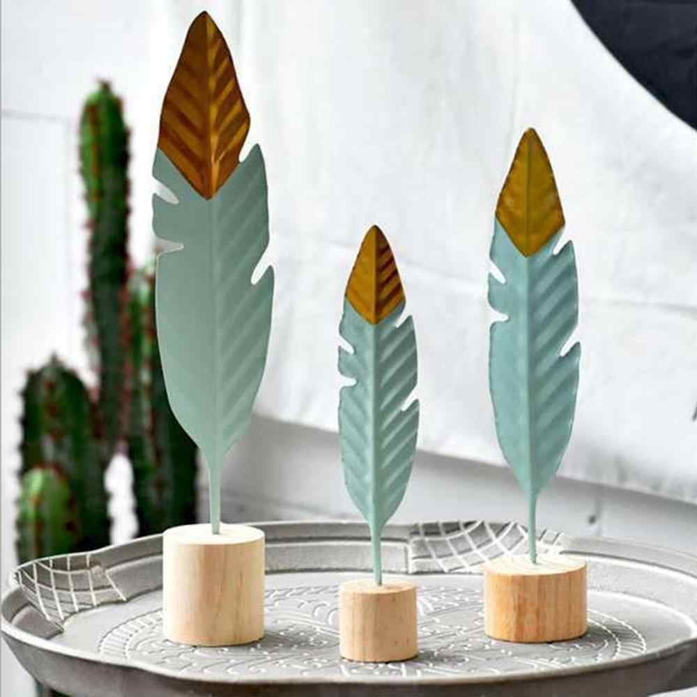 New Style Modern Feather Wooden Decorations Simple Miniature Figurines for Living Room Table Office Home Decoration Accessories