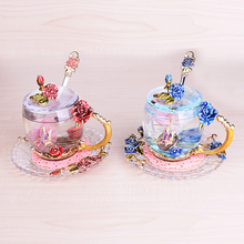 Creative Retro colorful glass cup  rose enamel applique crystal cup tea Cup Wedding cup  Wedding gift  Family drinkware 1set
