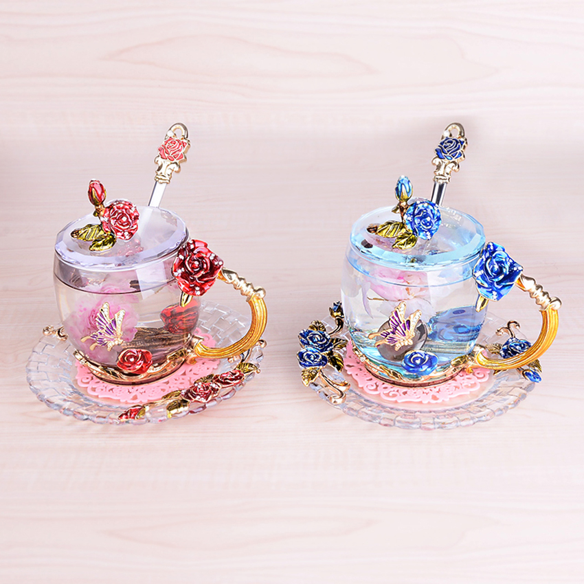 Creative rétro coloré verre tasse rose émail applique cristal tasse thé tasse de mariage cadeau de mariage famille drinkware 1 ensemble