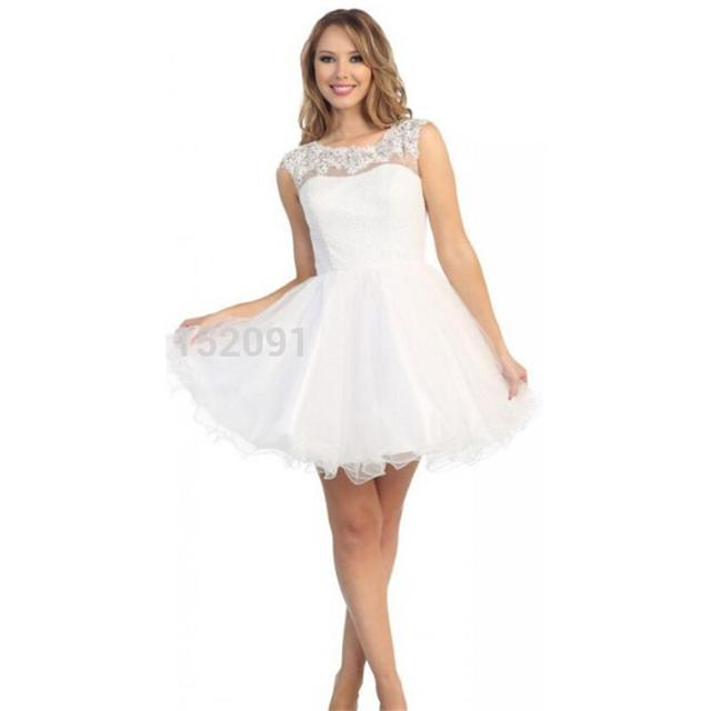 2016 Tank Top Short White Homecoming Dresses Sexy Open Back