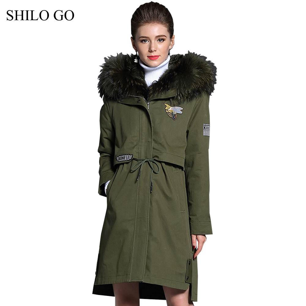 New Womens Winter Army Green Jacket Coats Thick Parkas Plus Size Real Raccoon Fur Collar Hooded Lamb Fur Lining Outwear Fur coat children army coat kids real raccoon collar fur jacket outdoor parkas army green rex rabbit fur hooded jacket for girl