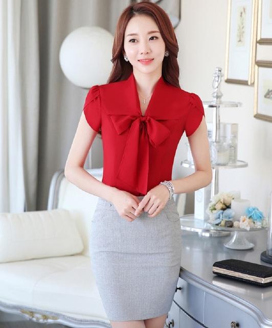 New Arrival Novidade Vermelho Fino Moda Verão 2016 Business Professional Women Ternos Tops E Conjuntos de Saia Das Senhoras Camisas Blusas