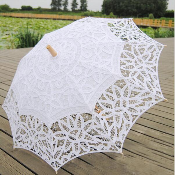 Nové vyšívané krajkové slunečníky Dřevěná šachta - Výrobky pro domácnost