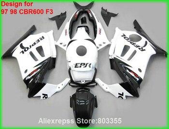 White Fairings for HONDA CBR 600 F3 1998 1997 97 98 ( REPSOL DECAL here ) cbr600 fairing kit xl77