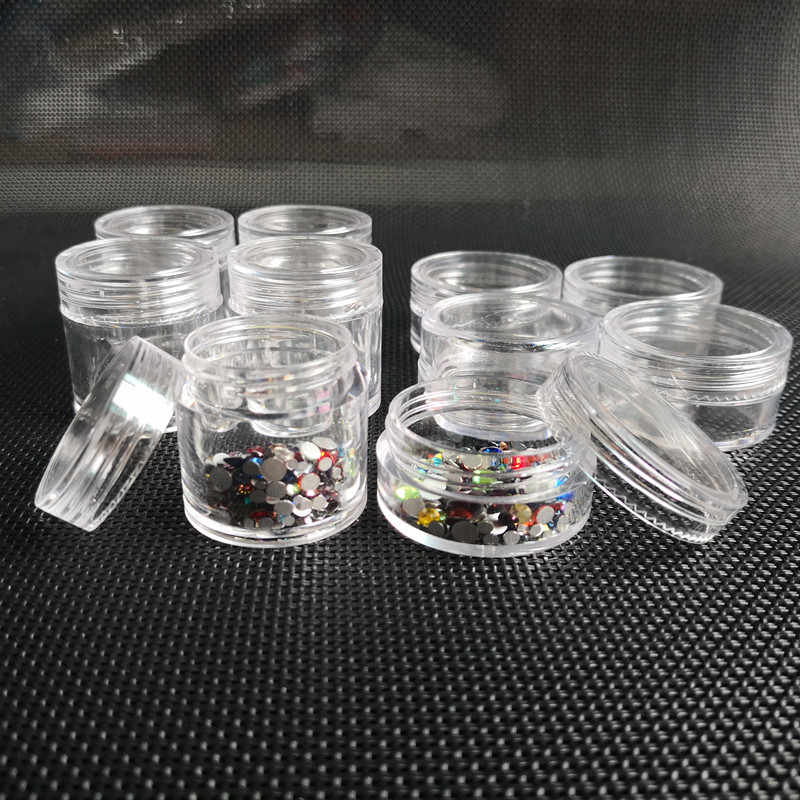 10ML Empty Makeup Jar Pots Cosmetic bead storage Skin Cream Container Refillable Bottles Nail Sequins Rhinestones Container Box
