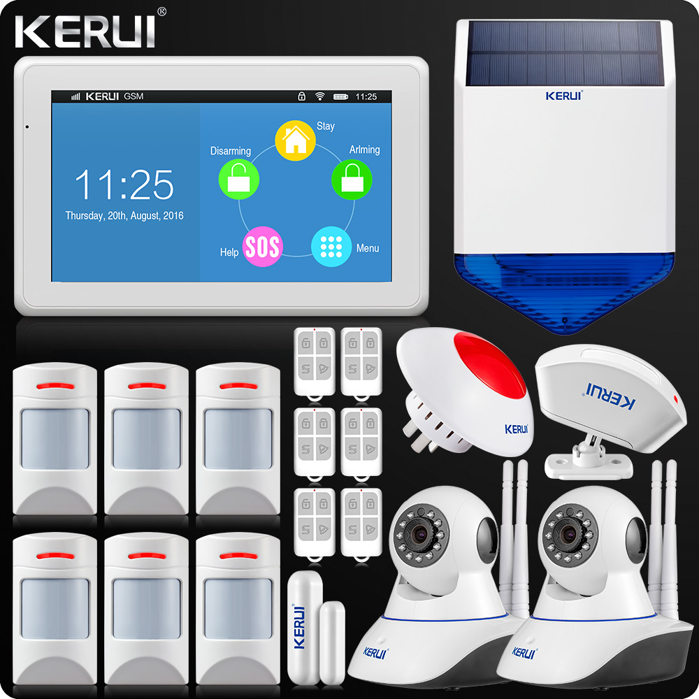 все цены на KERUI Touch-Screen 7 Inch TFT Color Display WIF GSM Alarm System Anti-pet Motion Dual Antenna Wifi IP Camera Solar Flash Sir