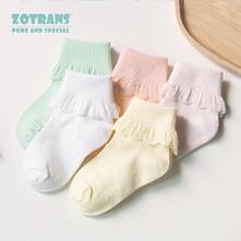 5 пар/лот; милые хлопковые носки с оборками для маленьких девочек; короткие Дышащие носки принцессы с кружевом для новорожденных; Партия Аксессуаров для маленьких девочек