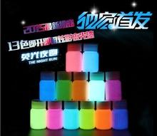 Смешанные 12 цветов Световой Акриловые краски для тела, 5 шт./лот, супер яркий флуоресцентная краска, пигмент Серебристых порошок, свечение в темноте