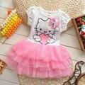 2015 летний стиль девушки одеваются Hello kitty мультфильм KT крылья туту платье лук вуаль Дети любят детская одежда бесплатная доставка