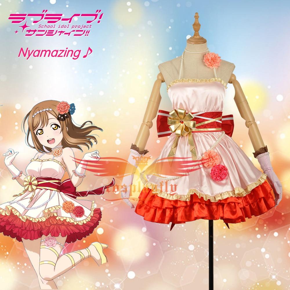 LoveLive!SunShine!! Aqours Kunikida Hanamaru Dress Girls May Activity Cards Cosplay Costume Adult Women Clothing Hairpin