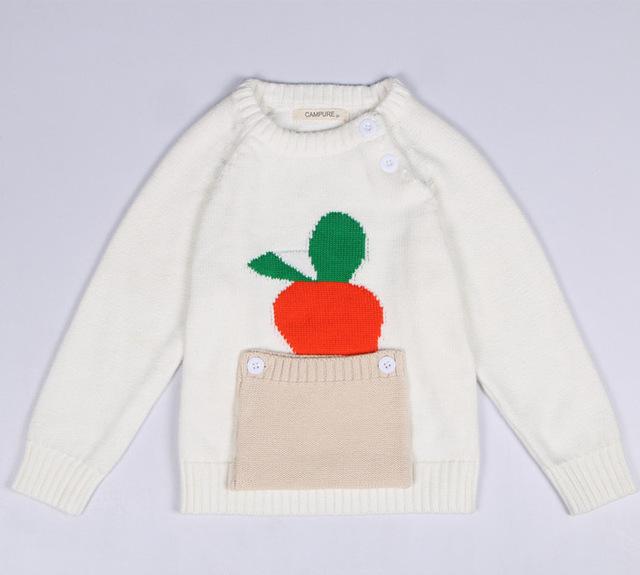 Roupas de Alta qualidade Crianças Camisola Quente Da Criança do bebê Da Menina do Menino Crianças O-pescoço Pullover Outono Inverno Knit wear carrot Top
