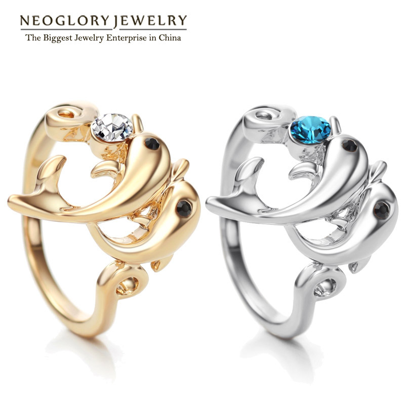 Neoglory High End Austrian Light Yellow Gold Color Fashion Dolphin ...
