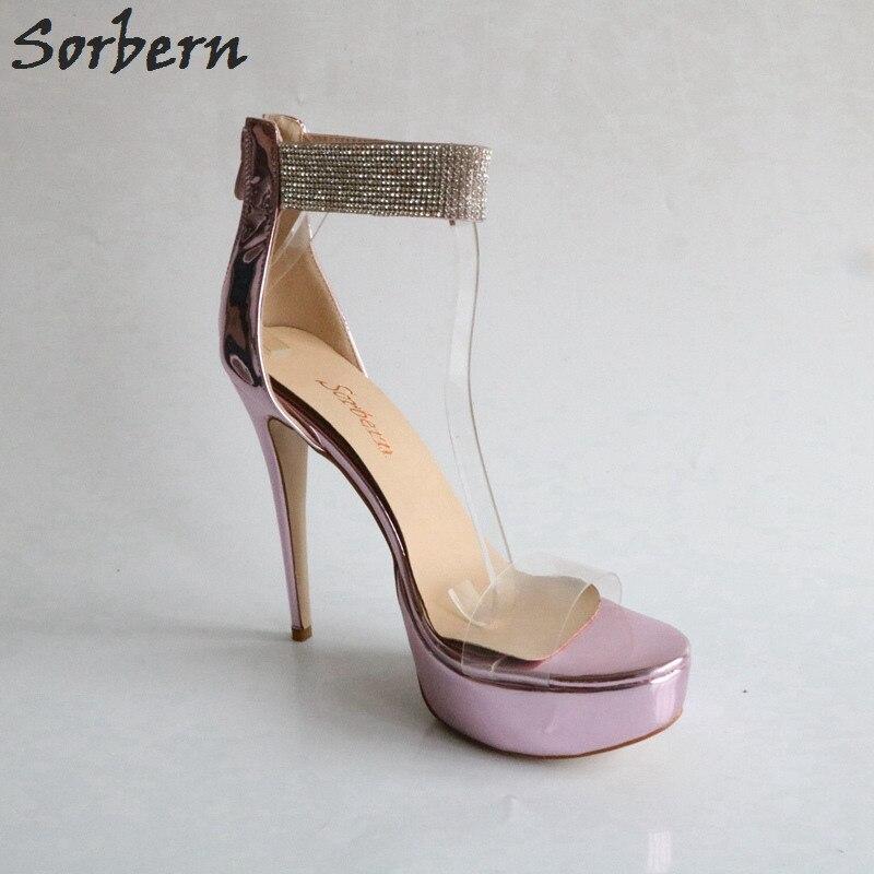 Sorbern Pvc Transparent Strass Ouvert Femmes Sandales Plate Brillant Lumière Talons Light D'été Purple Sandale Bout Pourpre Sangle forme Chaussures Cheville w8w0rq
