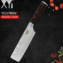 XYj японский, из нержавеющей стали кухонный нож рубящий нож антипригарный Nakiri дамасский серьги с размывом Мясо Кливер кухонная утварь