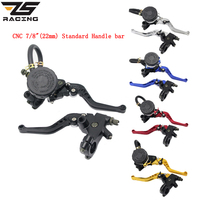 ZS Racing Universal Adjustable 22mm Motorcycle Brake Clutch Levers Master Cylinder Reservoir Set For Honda Kawasaki