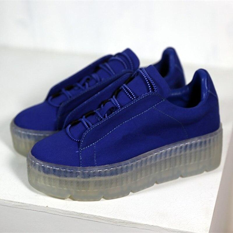 Clair étendre semelle plate-forme Sneaker femmes rue mode à lacets bleu noir chaussures décontractées femme bout rond Zapatos Mujer