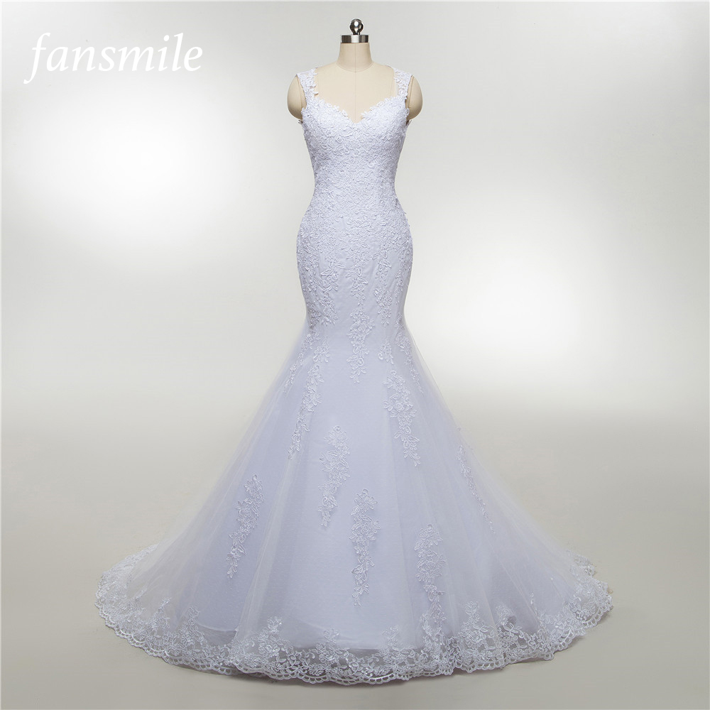 Fansmile Illusion Vestido De Noiva See Through Lace Mermaid Wedding Dresses 2019 Tulle Custom-made Wedding Gown Bride FSM-457M
