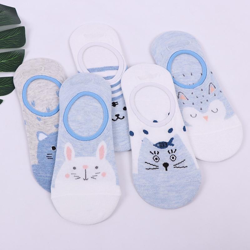Cartoon Animales Women Sock Sllippers Funny Fashionable Cute Skarpetki Damskie Cotton Female Meias Feminino Short Socks Cool