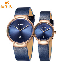 EYKI New Arrival Fashion Casual Lover's Watches Quartz Movement Genuine  Leather Strap Wristwatches For Men Women Love's Gift