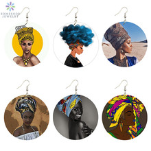 SOMESOOR African Flat Round Women Wood Drop Earrings Jewelry Fabric Headwrap Balcks Afrocentric Hair Painted Gifts 6Pair