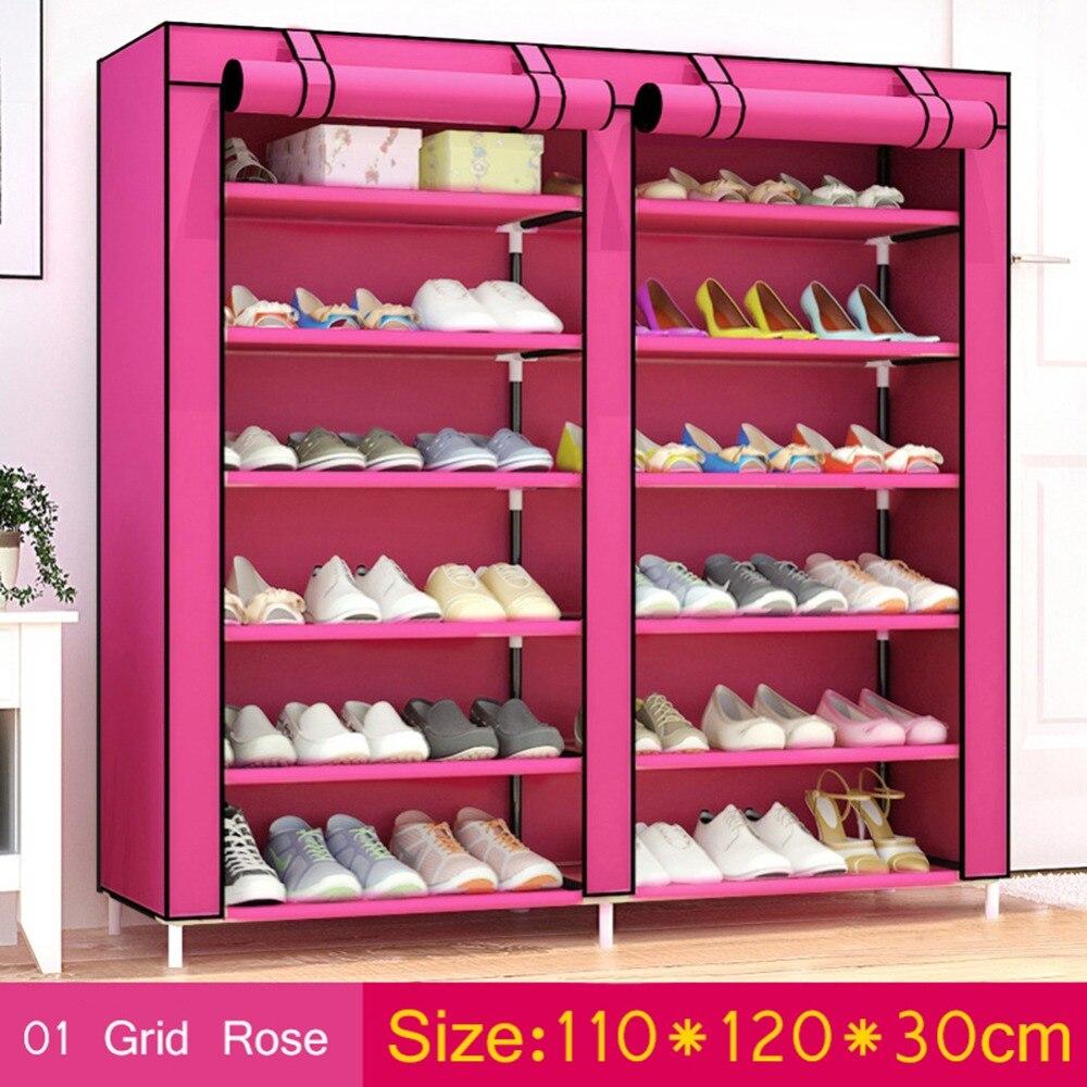Home Furniture Diy Shoes Double Rows Home Shoe Rack Shelf