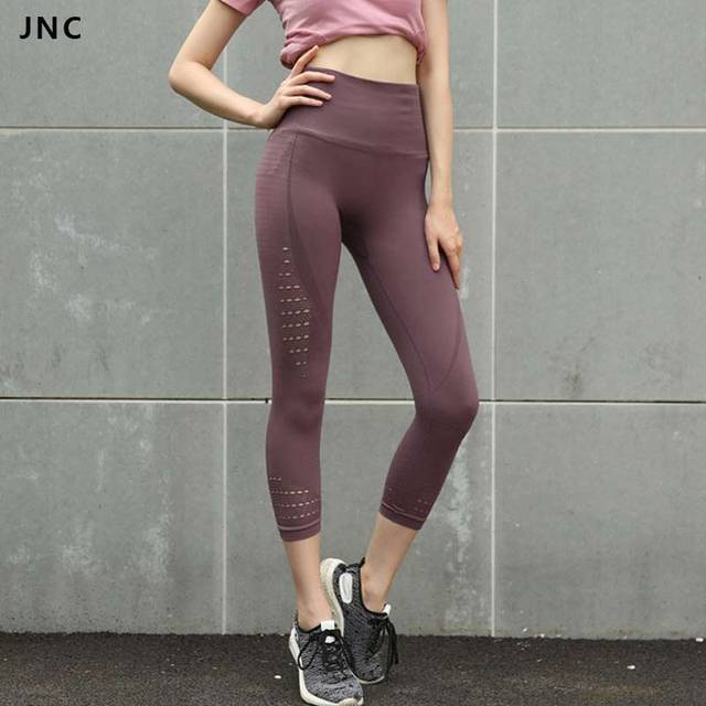 a19157c02e13c Energy Seamless Cropped Yoga Leggings Compression Tights Sport Leggings  Purple Running Pants Women Soft Lightweight Basic Capris