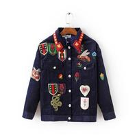 Women's 2016 street personality applique badge bf HARAJUKU outerwear female