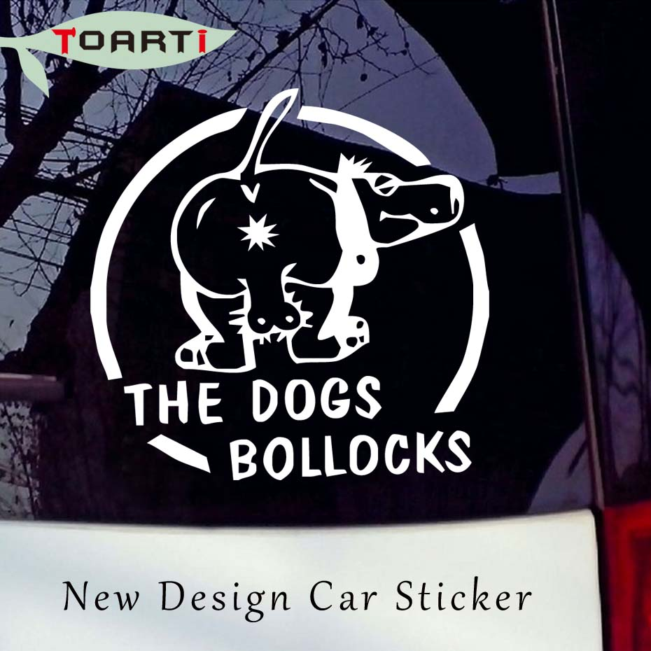 1414cm the dogs bollocks funny car stickers logo auto decals window rear windshield decorative stickers car styling accessories