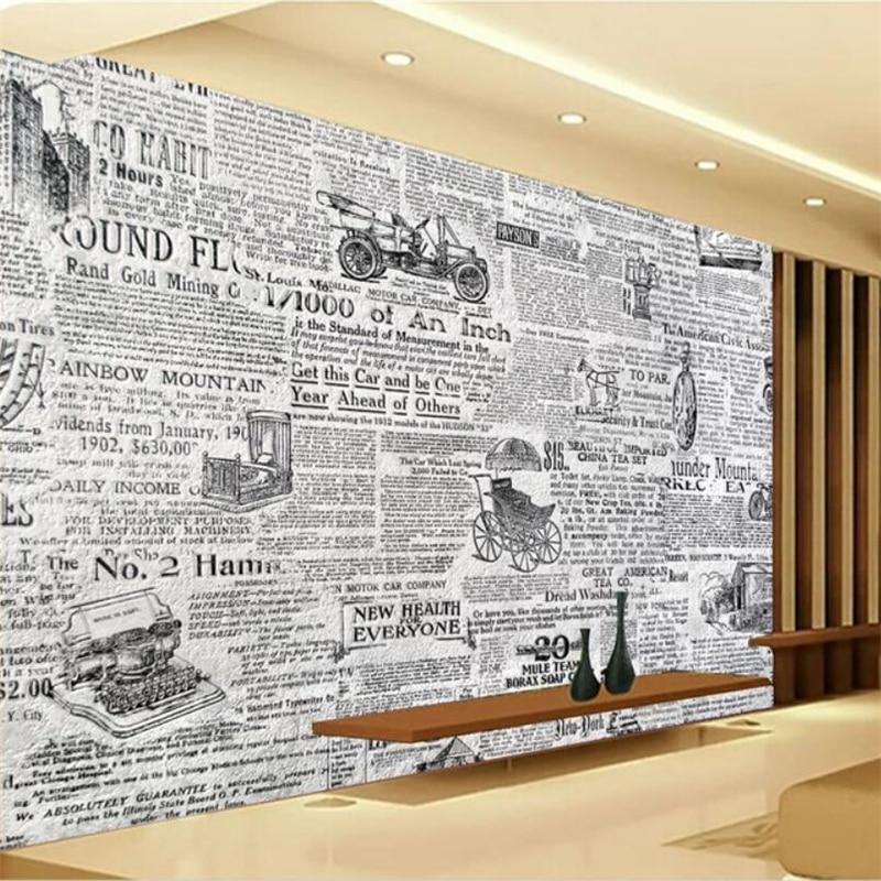 Beibehang Custom Wallpaper 3d Murals Retro Black And White Newspaper Tv Background Wall Decoration Painting Mural 3d Wallpaper Wallpapers Aliexpress
