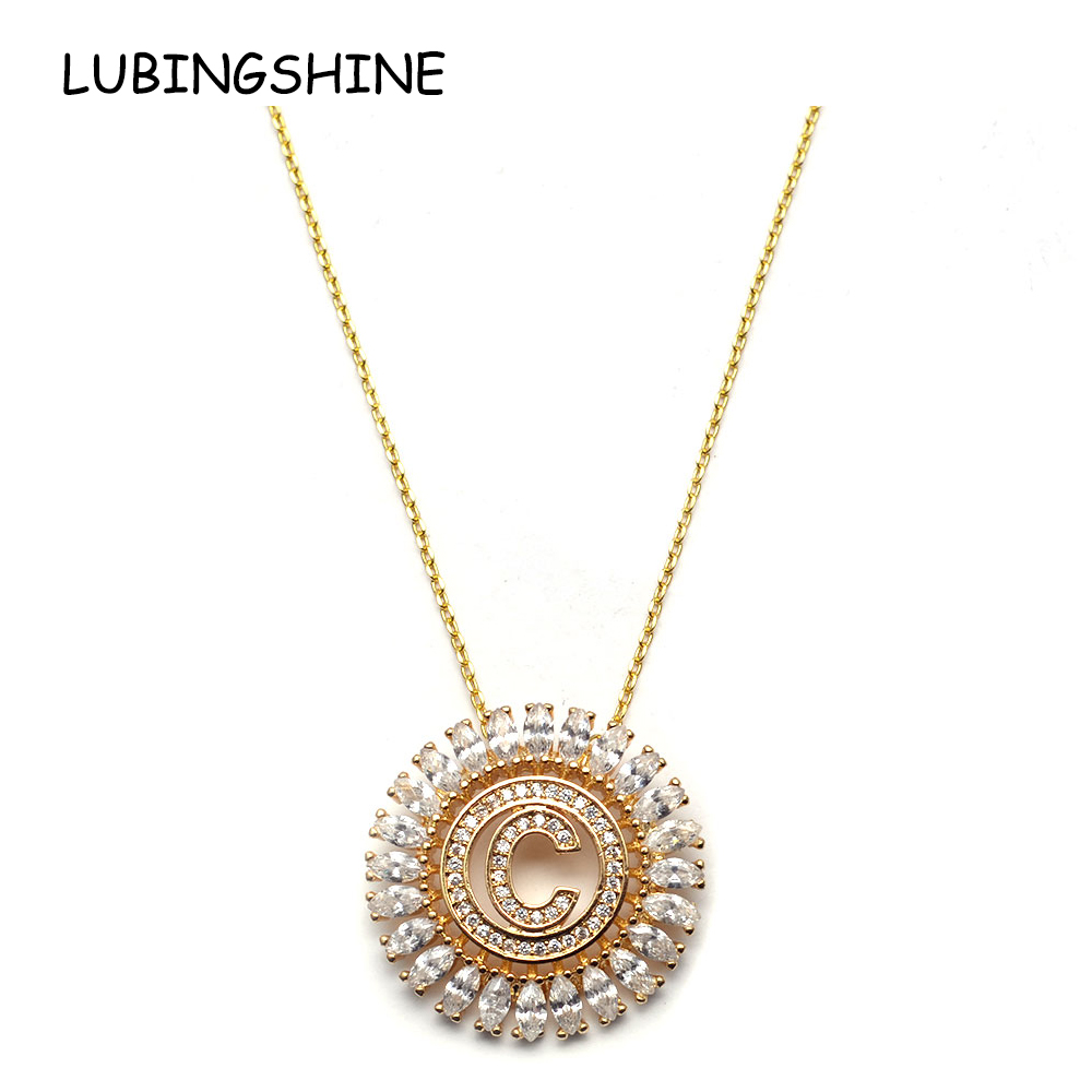 LUBINGSHINE Women 26 Letter Alphabet Pendant Necklace Gold Silver Zircon Chain Necklace Hip Hop Bridal Wedding Jewelry Gift