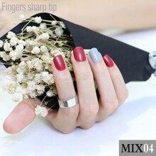 48pcs new Fashion Red Grey Fake Nail Short Design Artificial Nail Manicure DIY mix and match