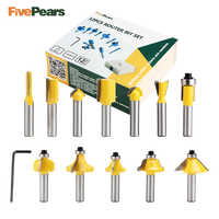 FivePears 12pcs 8mm Router Bits Set Professional Shank Tungsten Carbide Router Bit Cutter Set With Wooden Case For Wood