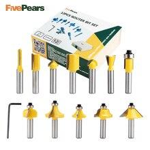 FivePears 12 sztuk 8mm zestaw wierteł frezarskich profesjonalny cholewka wolframu frez węglikowy zestaw do wycinania z drewnianą skrzynką do drewna