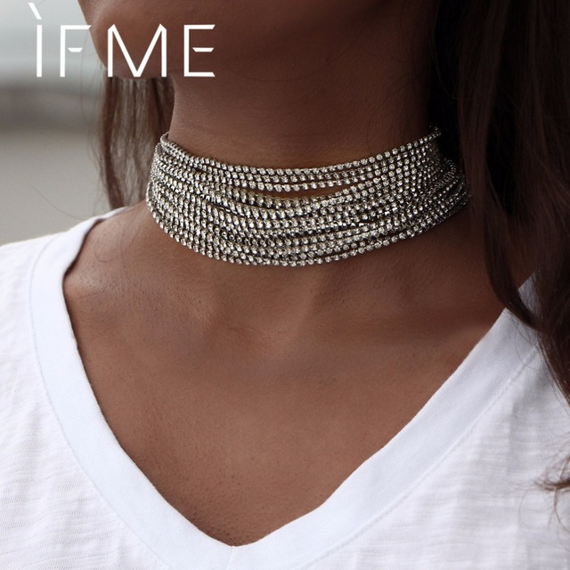 IF ME Large Crystal Choker Necklace Multilayer Vintage Simple Maxi  Rhinestone Statement Necklaces Fashion Women Collier d522f924b1f4