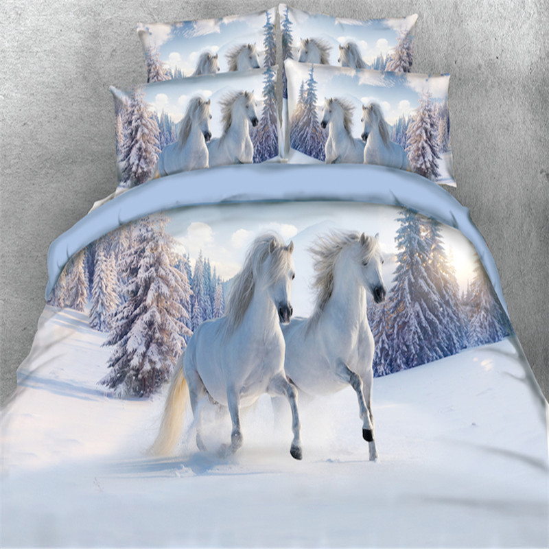 snow white horse runing bedding sets single queen full king size 3/4pc 3d duvet cover 500tc pillowcase Kids Boys bed in a bagsnow white horse runing bedding sets single queen full king size 3/4pc 3d duvet cover 500tc pillowcase Kids Boys bed in a bag