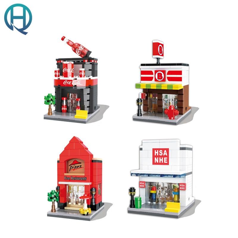 HSANHE City Series Mini Street Shop Convenient Store DIY Building Blocks Bricks Educational Bricks Gift Toys for Children Kids dayan gem vi cube speed puzzle magic cubes educational game toys gift for children kids grownups