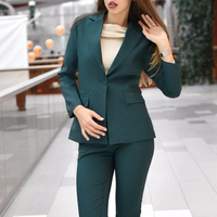 Green Fashion 2019 Women Pencil Pant Suits 2 Piece Set Solid Blazer & Pant Office Lady Notched Jacket Female Suit High Quality