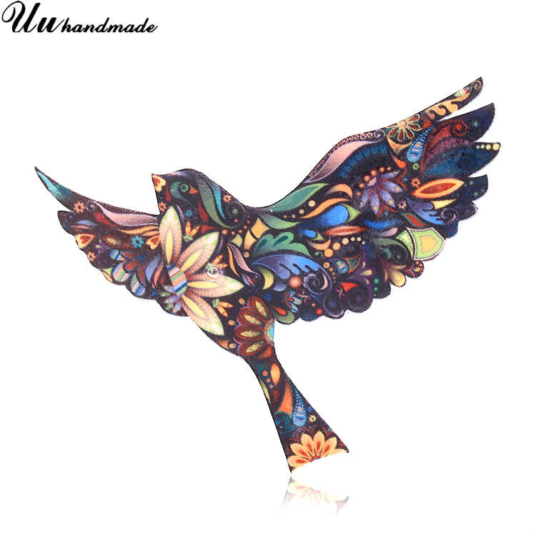 Fashion Brooch Acrylic Bird Brooches for Women Lapel Pin Hijab Pins Broches Broche Accessories Christmas Gifts Kids Jewelry 2018
