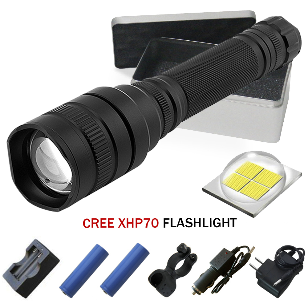 Powerful LED flashlight Tactical Zoom torch XHP70 flashlight Rechargeable Lantern CREE XHP70 10000lm font b Camping
